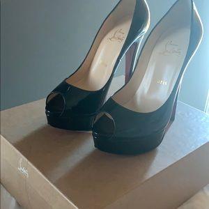 Christian Louboutin black lady peep patent calf